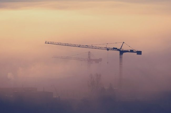 Nature, Construction Crane, Fog