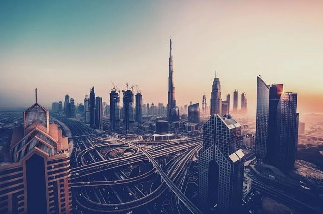 Photo panoramique de la ville de Dubai